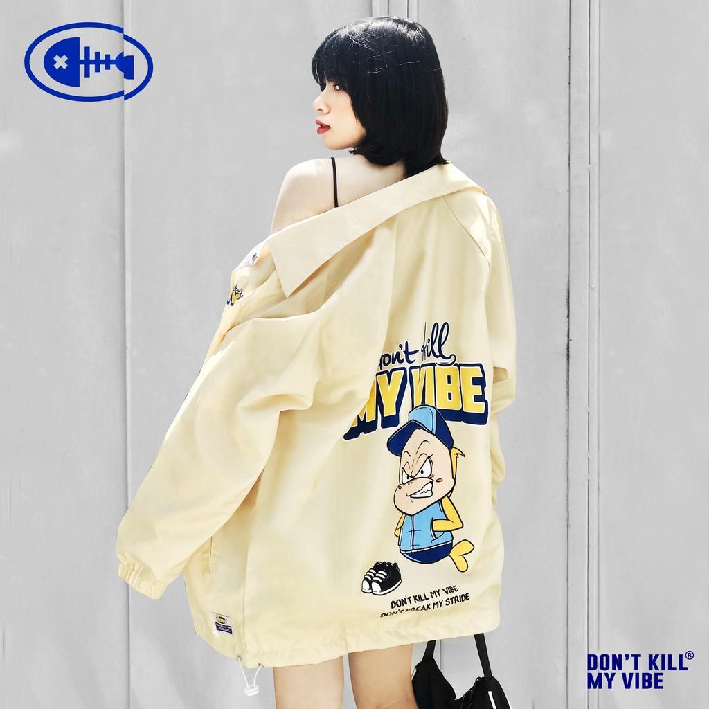 Áo khoác dù nữ màu vàng cổ bẻ in hình   DKMV Yellow Baseball Jacket