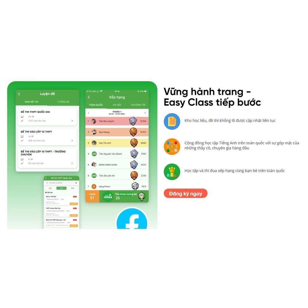 Easy Class PLUS VVIP Trọn đời - Ứng dụng học tiếng Anh từ lớp 1 đến lớp 12 (hàng chính hãng)