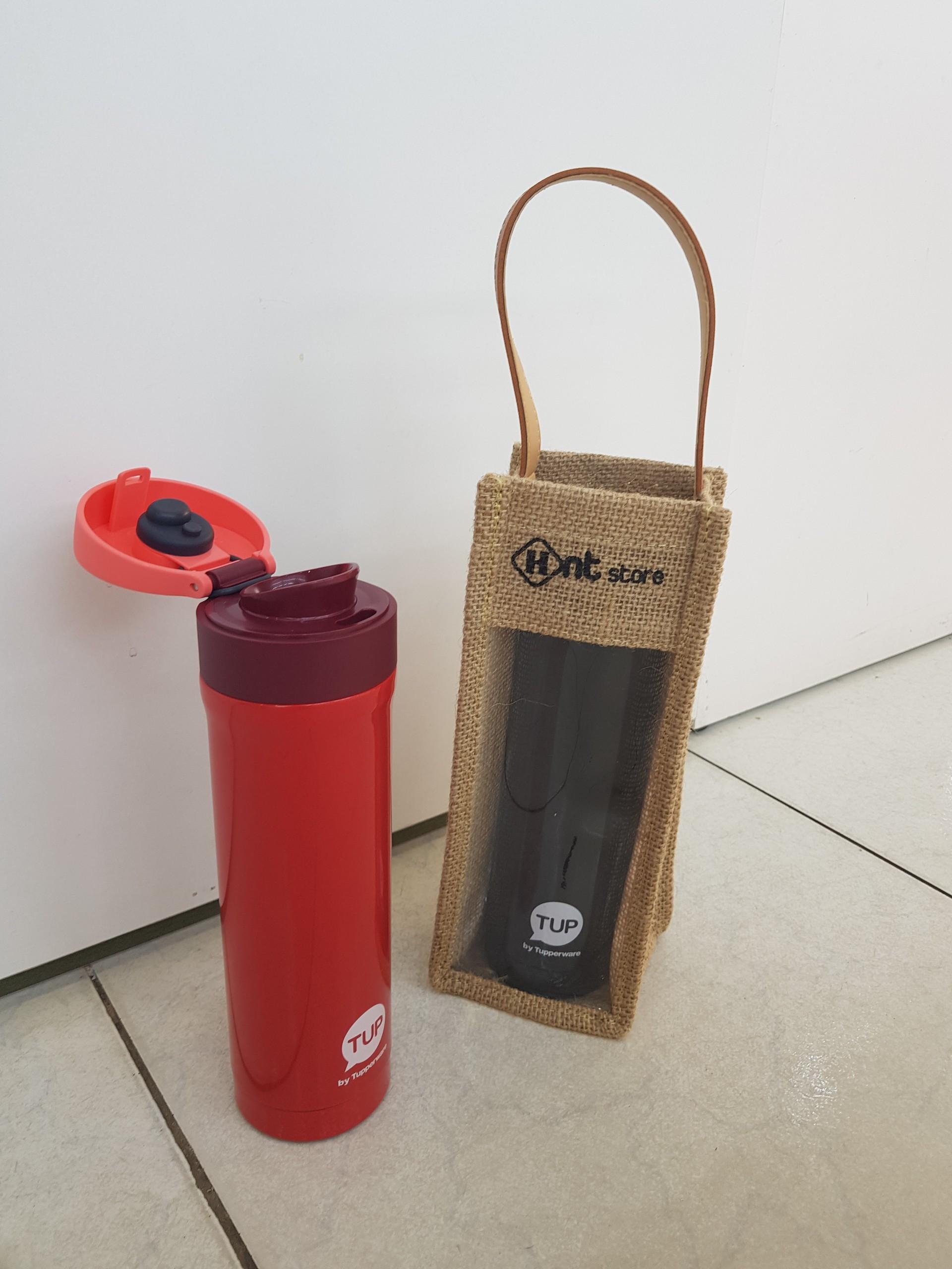 Bình giữ nhiệt Easy open Tupperware 430ml ĐỎ (Tặng kèm túi đựng bình bằng xinh xắn)