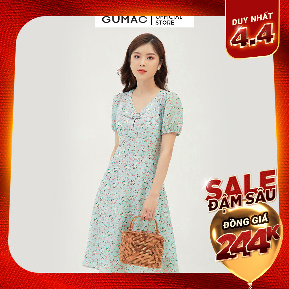 Đầm xòe nữ họa tiết hoa thiết kế nhún ngực GUMAC DB380