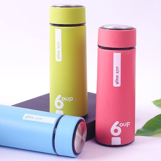 Bình Đựng Nước Giữ Nhiệt đa năng bọc nhựa chống nóng an toàn tiện dụng 450ml - Giao màu ngẫu nhiên