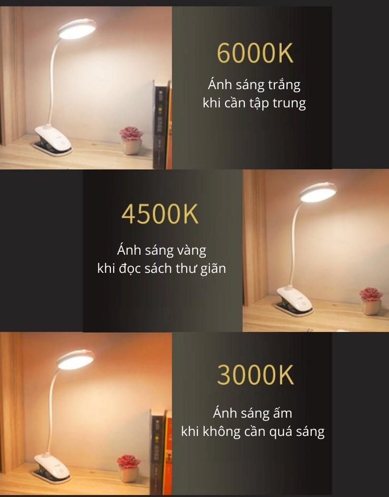 Đèn bàn chống cận thương hiệu Smiling Shark không dây, sạc USB, thân đèn linh hoạt 360 độ, có thể kẹp vào bàn hay giá sách, bảo vệ mắt khi học bài, đọc sách, làm việc máy tính kéo dài - hàng chính hãng