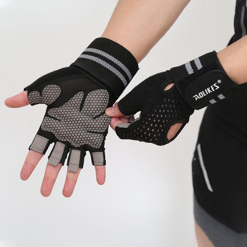 Găng tay nửa ngón tập gym, tập tạ Aolikes AL113B (1 đôi)