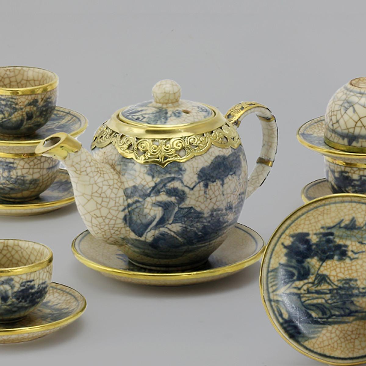 Bộ ấm chén men rạn bọc đồng gốm sứ Bát Tràng (bộ bình uống trà, bình trà)