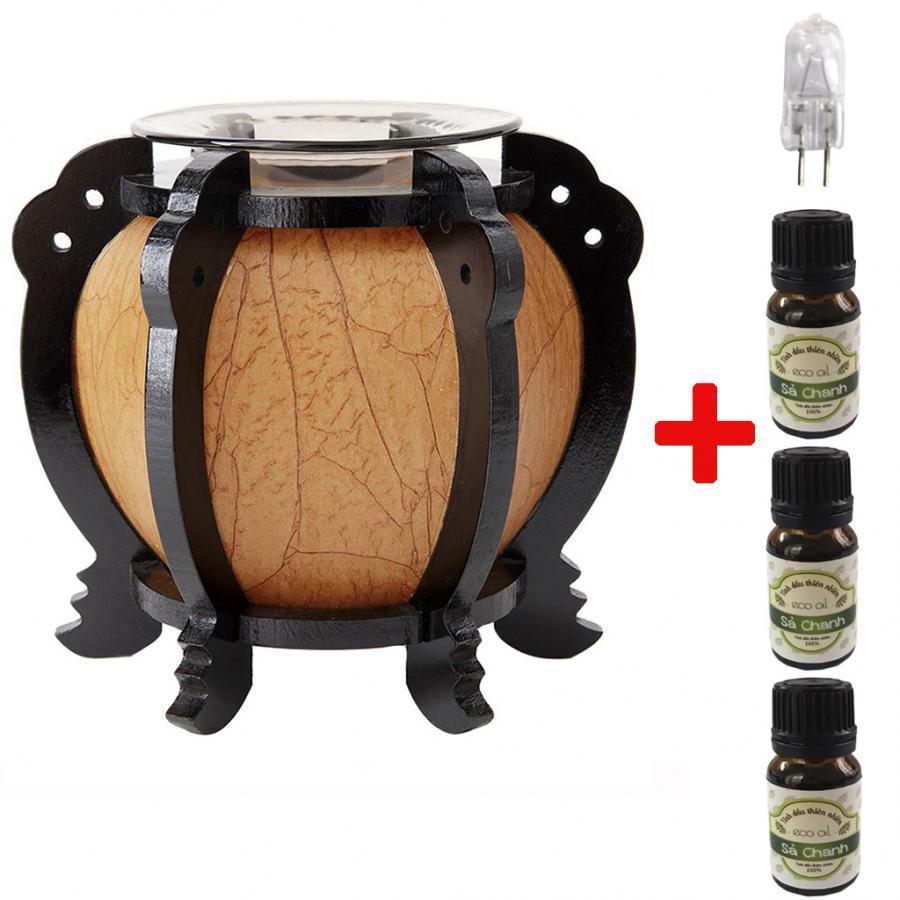 Đèn xông tinh dầu MNB15 và 3 tinh dầu sả chanh Eco 10ml và 1 bóng đèn