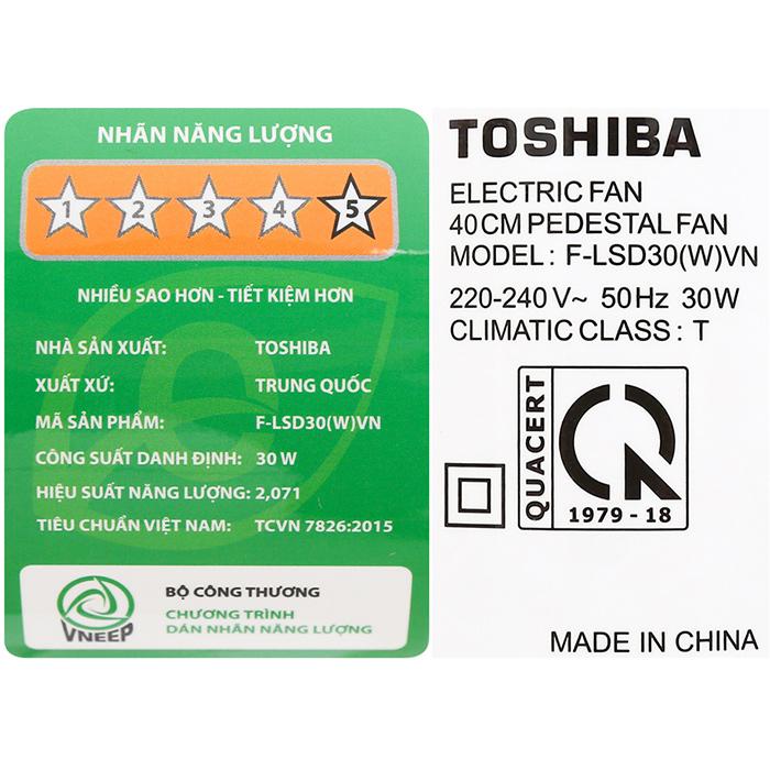 Quạt Đứng Toshiba F-LSD30(W)VN - Trắng - Hàng chính hãng