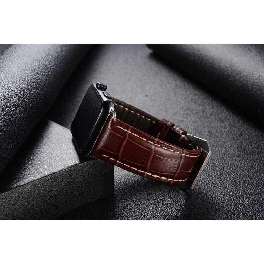 Dây da đeo thay thế cho Apple Watch 38mm / 40mm hiệu Kakapi da bò thật (Vân) - Hàng chính hãng