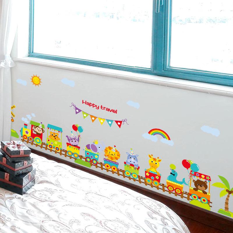 Decal dán tường đoàn tàu loài vật cho bé SK9011
