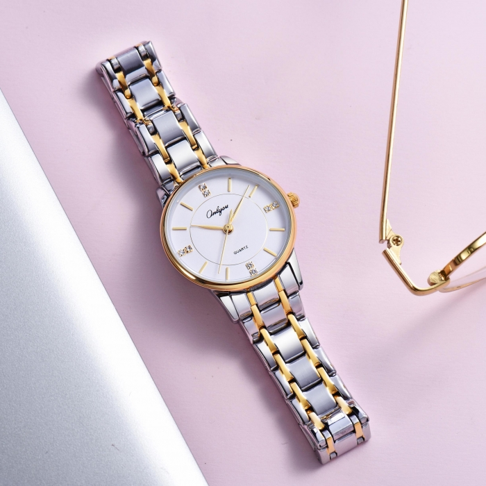 Đồng hồ Onlyou Nữ 328009LC Dây thép không gỉ 28mm