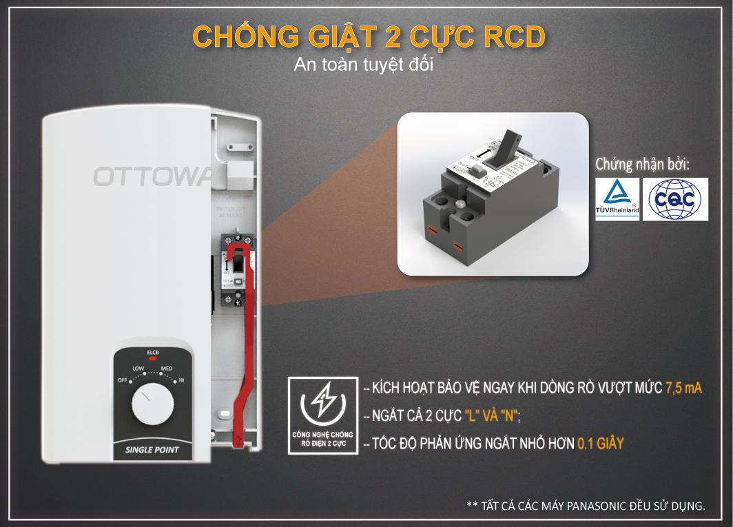 Máy tắm nước nóng OTTOWA TC45P01, Hàng chính hãng
