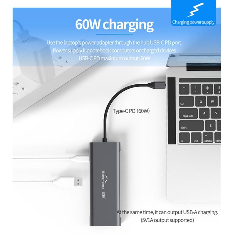Hub USB 9 trong 1 Loại C Laptop Đế cắm USB 3.0 Sang HDMI 4K,2 USB 3.0 Ports,SD/TF Card Reader,100W PD cho MacBook Huawei Xiaomi DELL -Hàng Nhập Khẩu