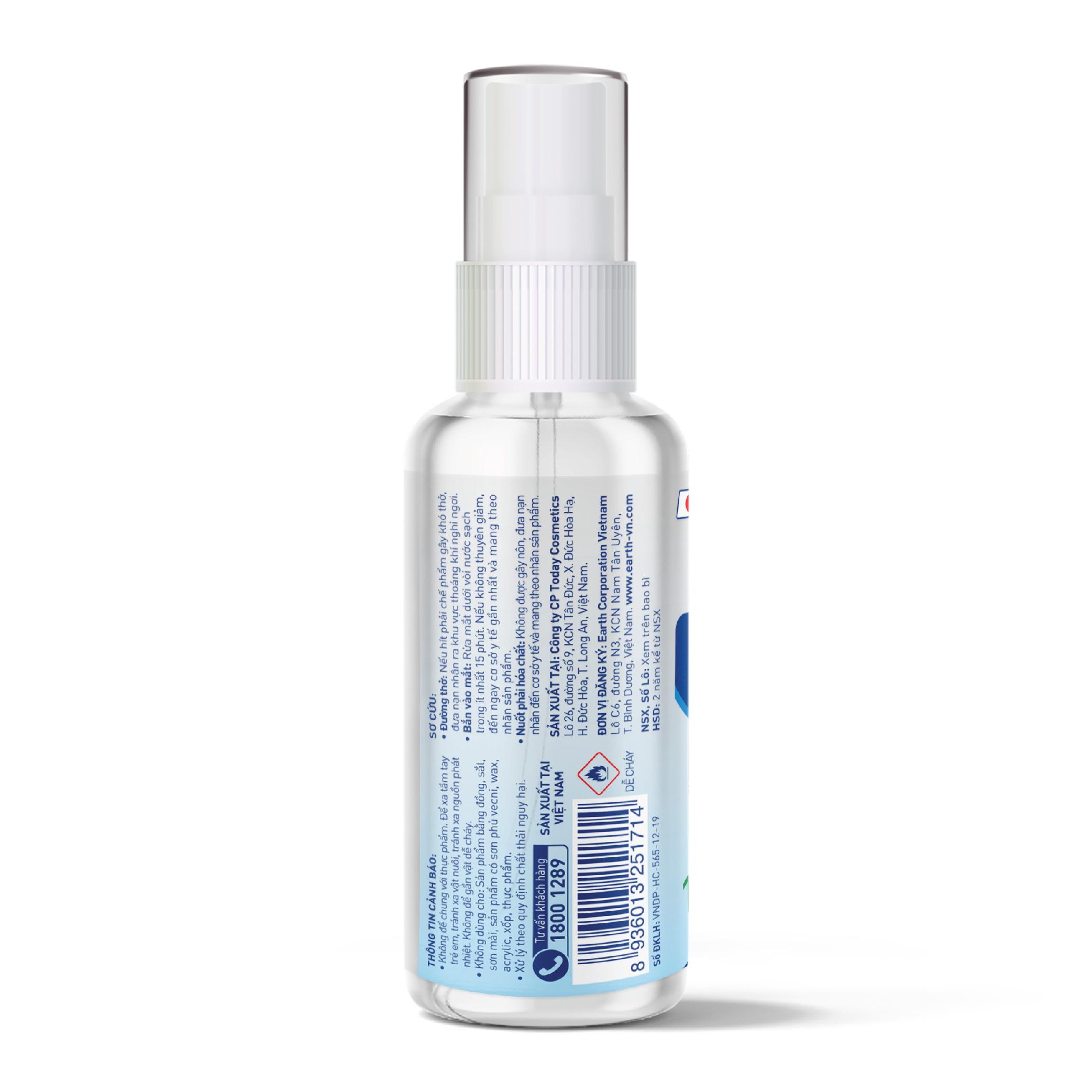Chai xịt diệt khuẩn Natuearth (60 ml) - Chai bỏ túi - Chuyên dùng diệt khuẩn da tay và bề mặt -  với 100% nguyên liệu thiên nhiên đạt tiêu chuẩn Nhật Bản
