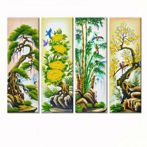 Bộ 4 Tranh Treo Tường Tứ Quý: Tùng - Cúc - Trúc - Mai - W288