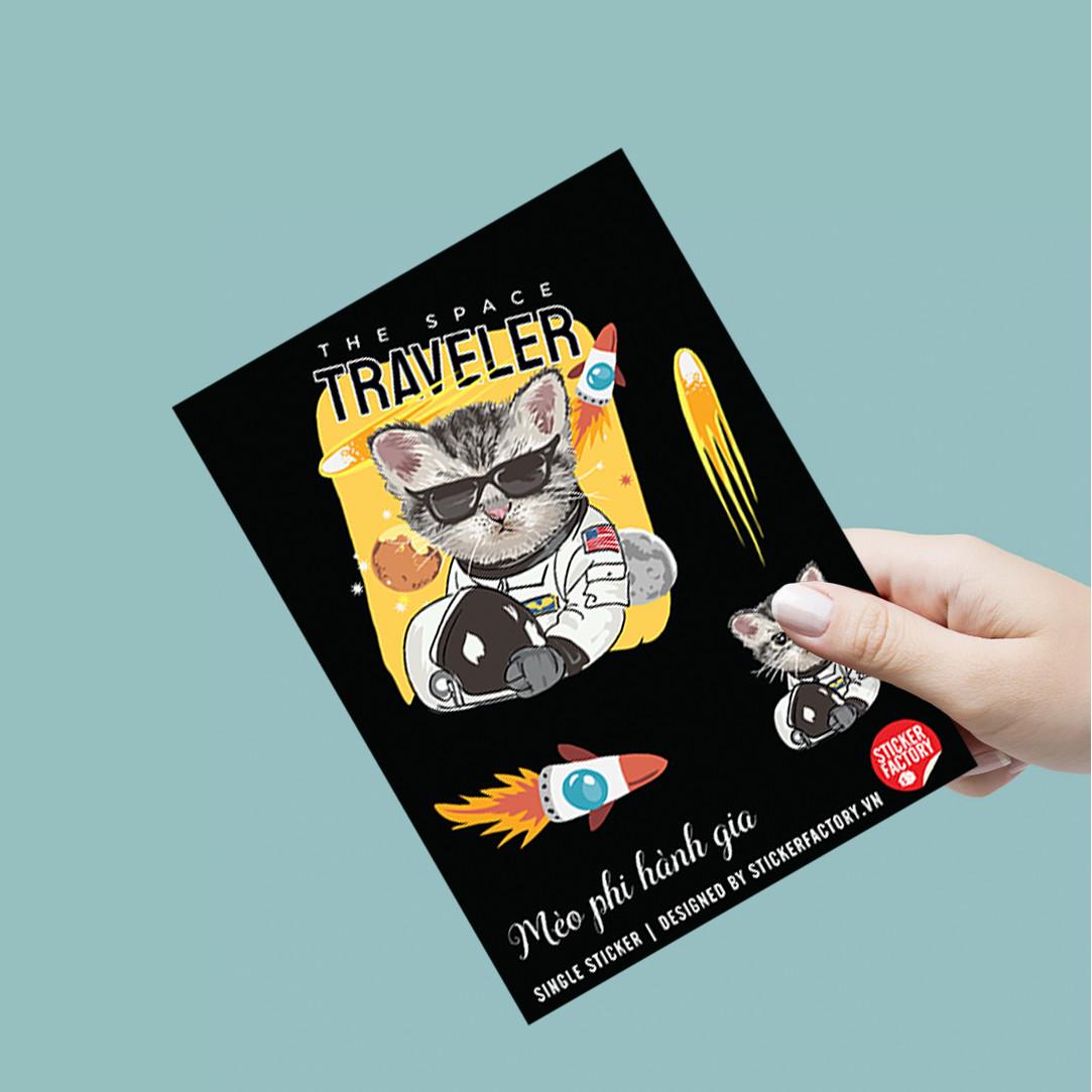 Mèo Phi Hành Gia - Single Sticker hình dán lẻ