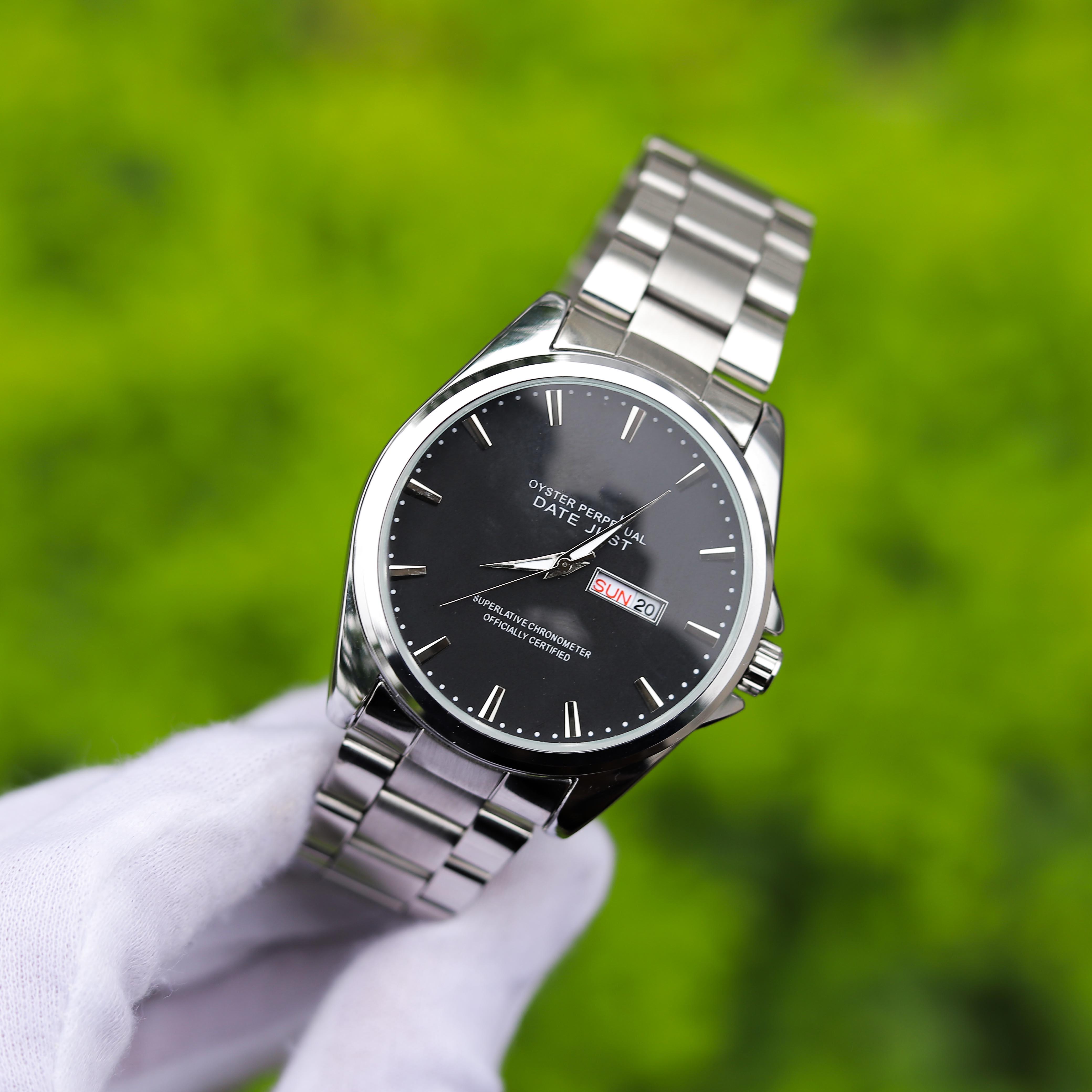 Đồng hồ nam dây thép phong cách Ý mặt kính chống xước cao cấp TI003050 hiển thị 2 lịch ngày tháng – Thiết kế sang trọng – Lịch lãm