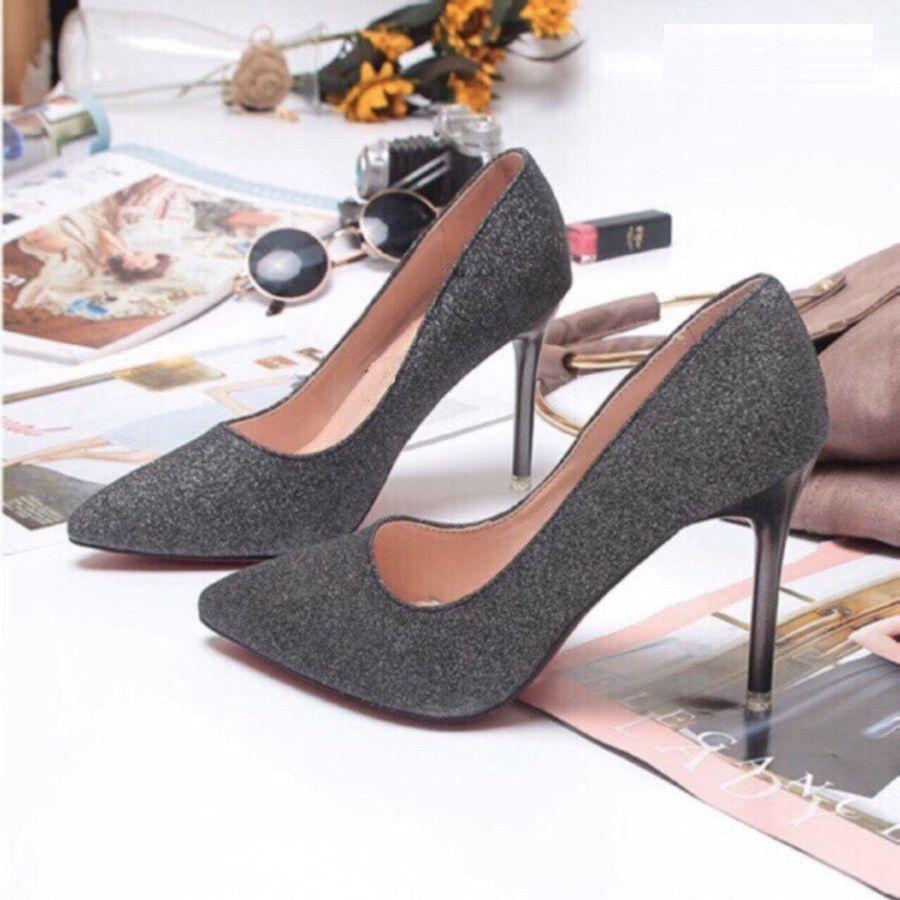 Giày cao gót nữ đế 7p phủ nhũ kim tuyến sang chảnh-GC78