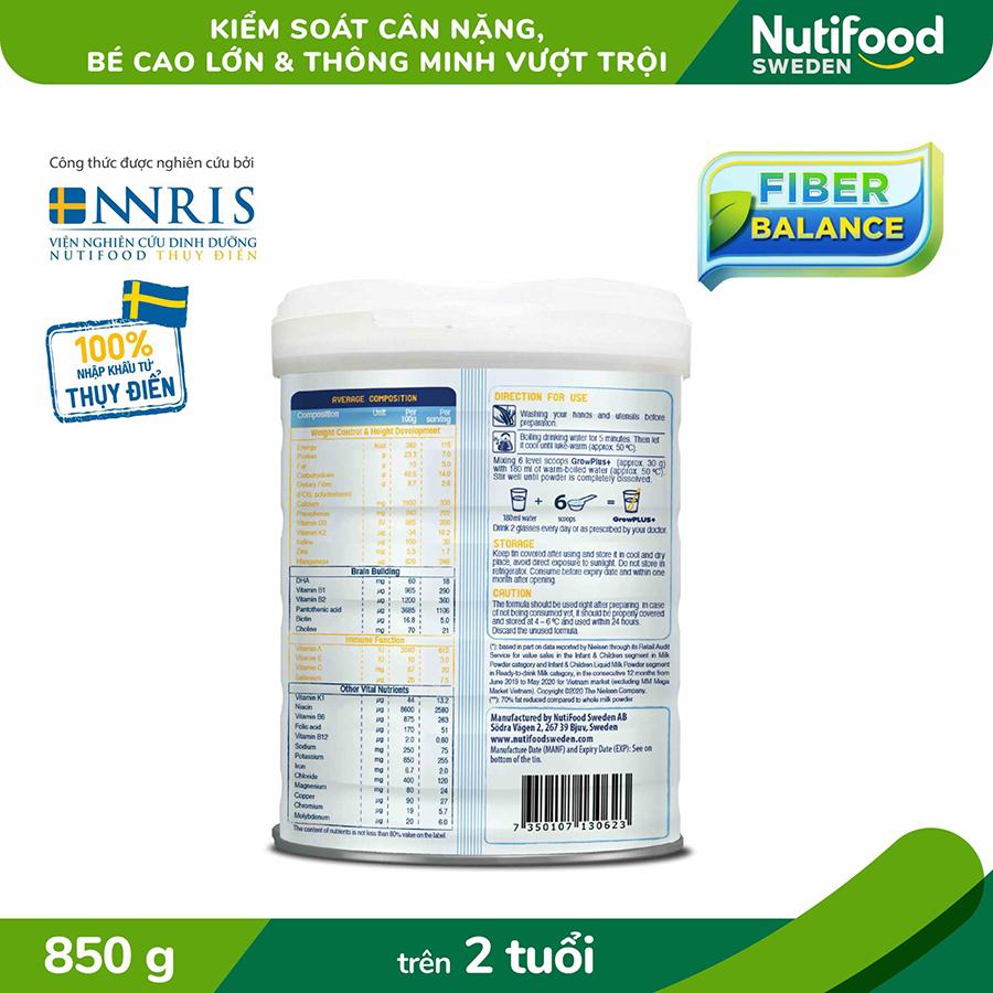 Sữa Bột Growplus+ Trắng Giúp Trẻ Phát Triển Chiều Cao Và Não Bộ, Không Thừa Cân 850g