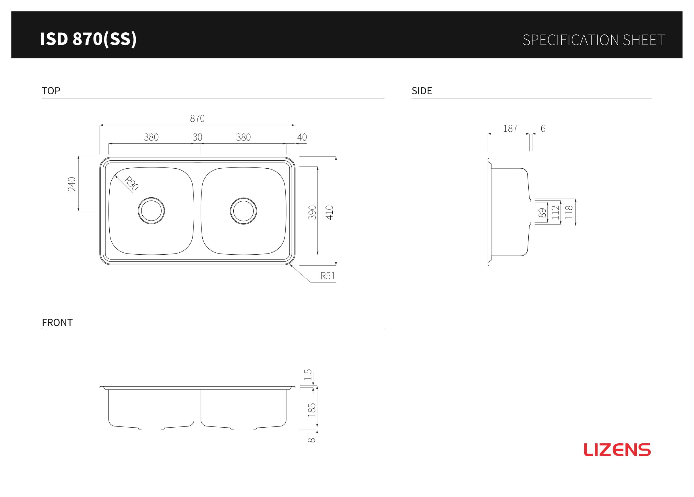 Bồn rửa chén inox 304 2 ngăn cao cấp Lizens ISD 870