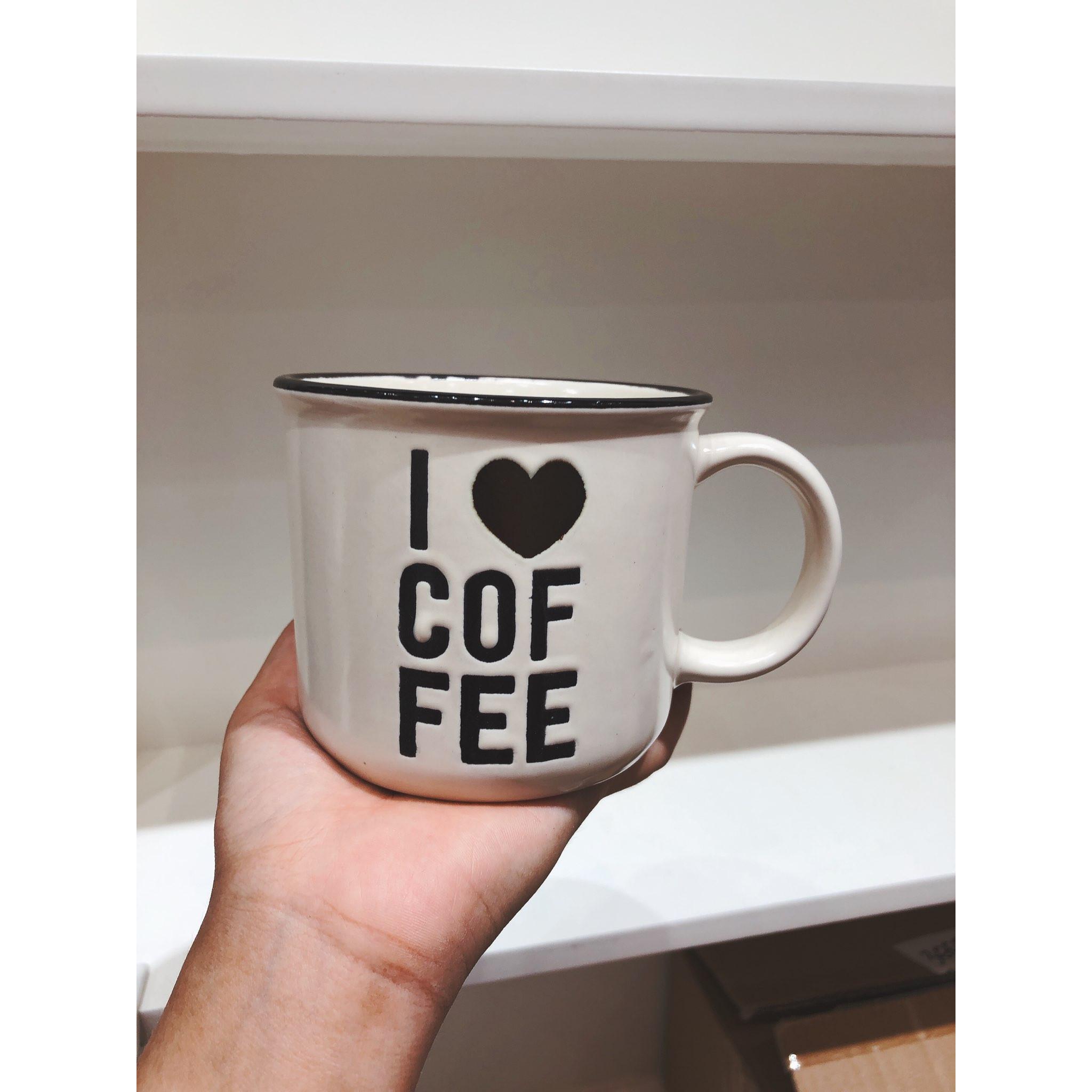 Ly cốc sứ miệng loe tráng men bóng in chữ I love Coffee 400ml