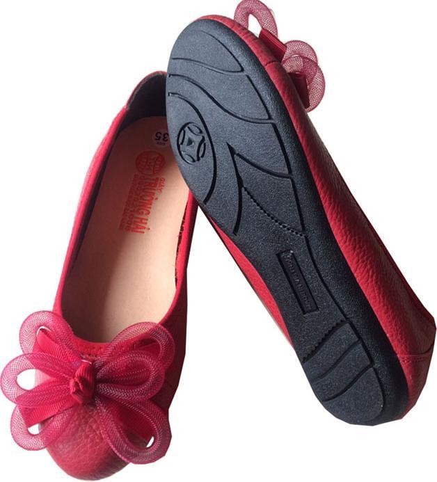 Giày búp bê nữ đỏ da bò cao cấp BB208