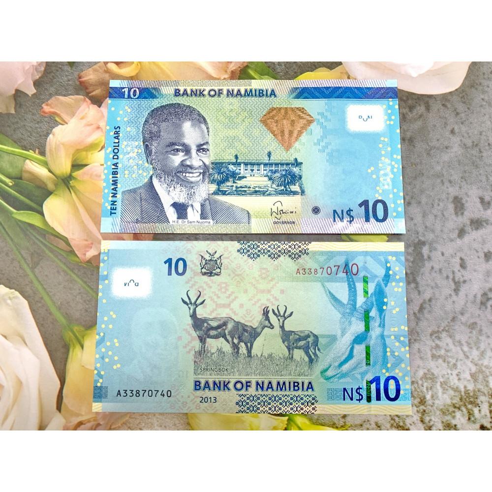 Tiền cổ Namibia 10 Dollar sưu tầm, tiền quốc gia nghèo châu Phi, mới 100% UNC, tặng túi nilon bảo quản