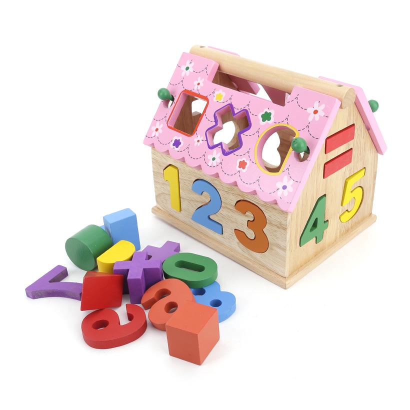 Đồ chơi giải trí - Combo rút gỗ và nhà thả hình màu hồng bằng gỗ
