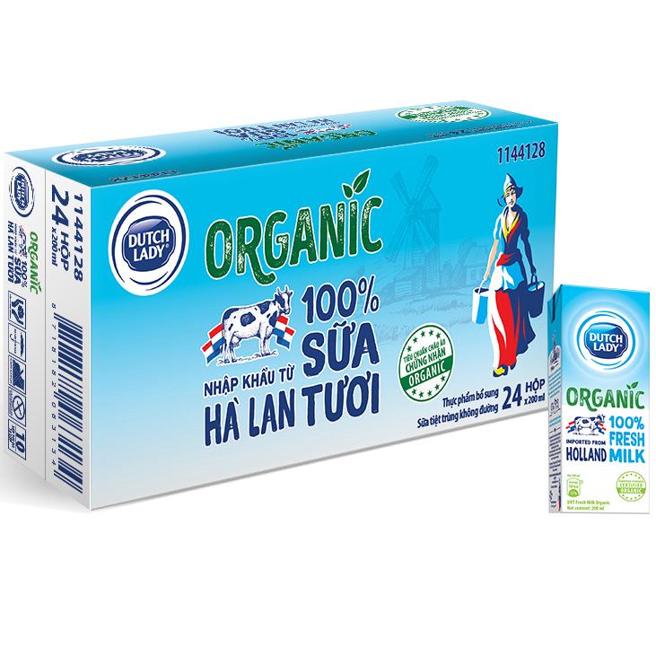 Thùng 24 Hộp Sữa Tươi Tiệt Trùng Dutch Lady Cô Gái Hà Lan Organic 24X200ml