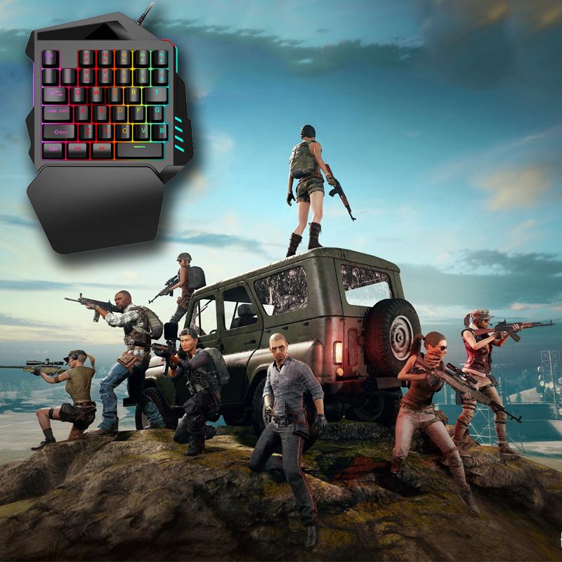 Combo Bộ Bàn Phím 1 Tay Free Wolf K1 chơi game Pubg Mobile,Rules of Survival,Free Fire trên điện thoại, máy tính bảng + Tặng chuột led 7 màu chuyên game cao cấp