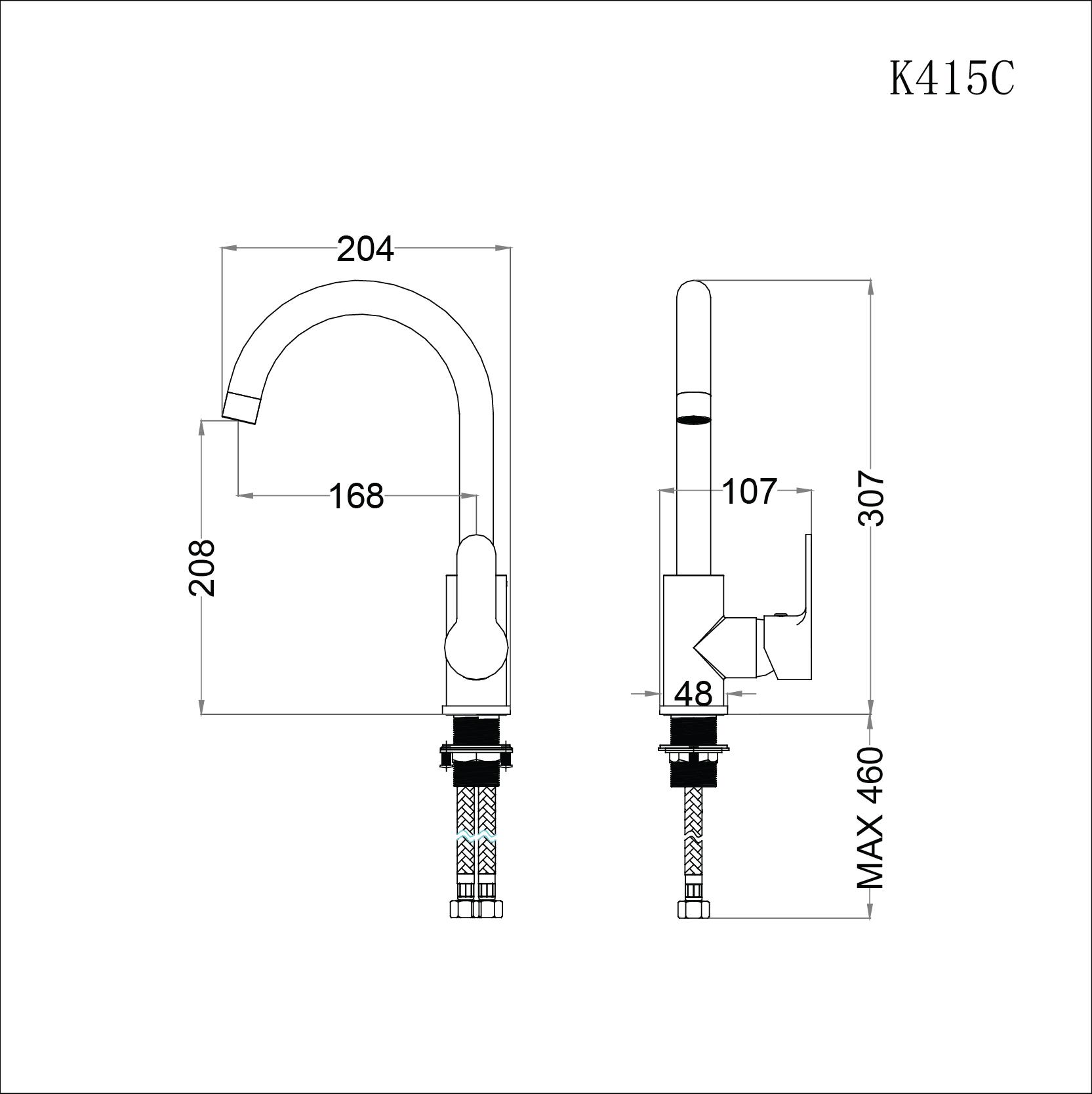 Vòi rửa bát (chén) nóng lạnh gắn chậu cổ cao 307 mm - Caesar K415C