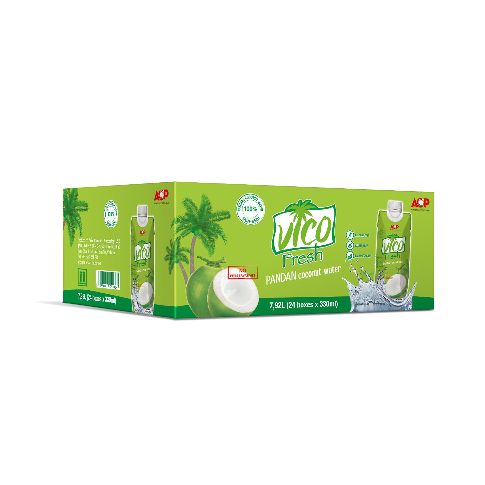 Thùng 24 hộp Nước dừa dứa Vico Fresh 330ml  hộp