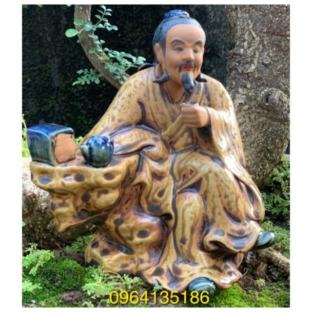 Tượng tiểu cảnh thần trà h18cm men nâu đồng gốm sứ Bát Tràng