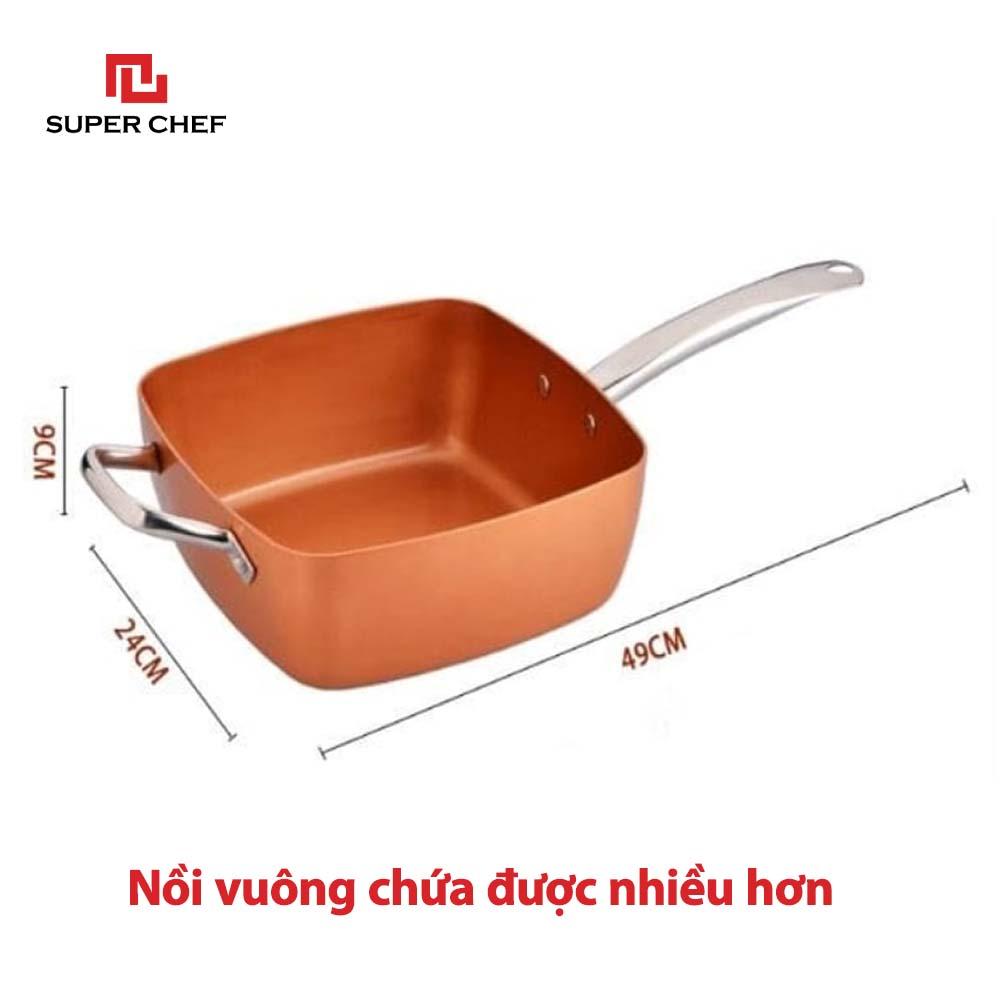 Bộ Nồi Chống Dính Ceramic Vuông Và Rổ Chiên Inox 304 5 Trong 1 Đa Năng Siêu Tiện Lợi, Dùng Mọi Loại Bếp, Thách Thức Mọi Món Ăn,  Chống Dính An Toàn, Không Bong Tróc, Hạn Chế Trầy Xước SIêu Bền Bỉ