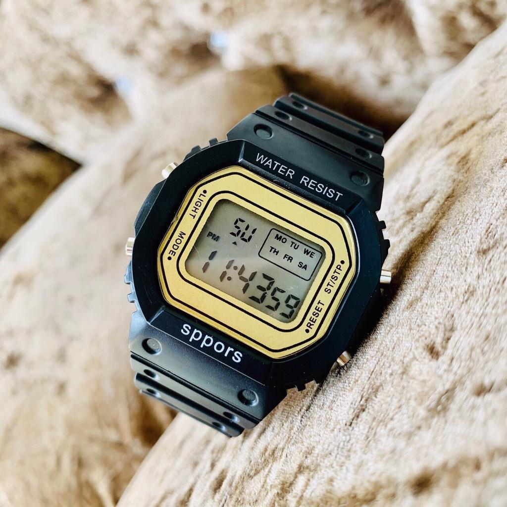 Đồng hồ điện tử nam nữ Sppors Đen mặt vàng cực đẹp MS226