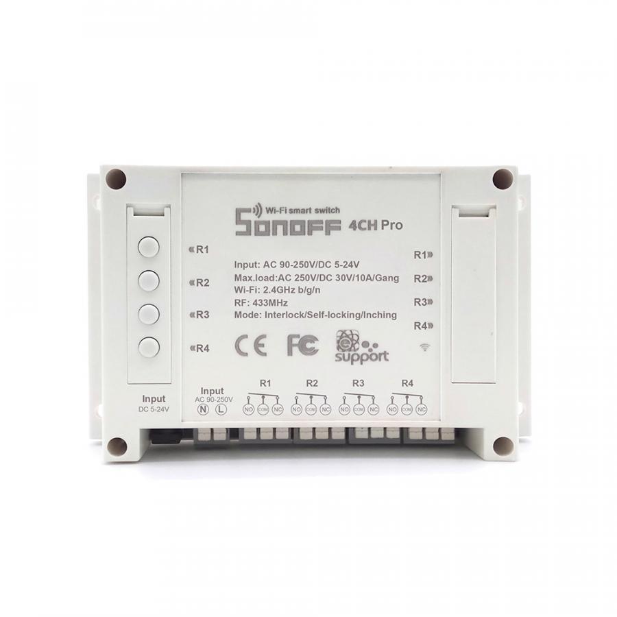 Sonoff 4CH Pro - Công tắc WiFi thông minh 4 cổng kết nối WiFi + RF - Hàng Nhập Khẩu