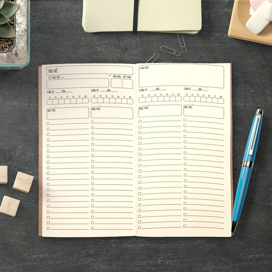 """Sổ tay planner """"3 Đầu 6 Tay"""" bìa cứng 21x11 to-do list, thời gian biểu, check list, nhắc việc, lịch hẹn"""