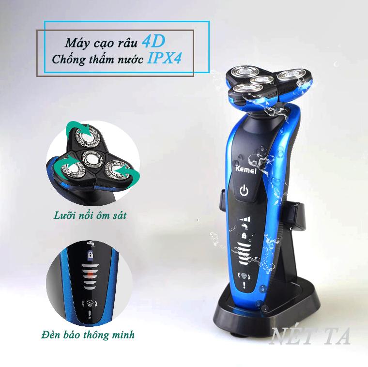 Máy cạo râu 4D chống thấm nước Kemei KM - 58890 đèn báo thông minh đế sạc rời chuyên nghiệp - cạo sát - không đau