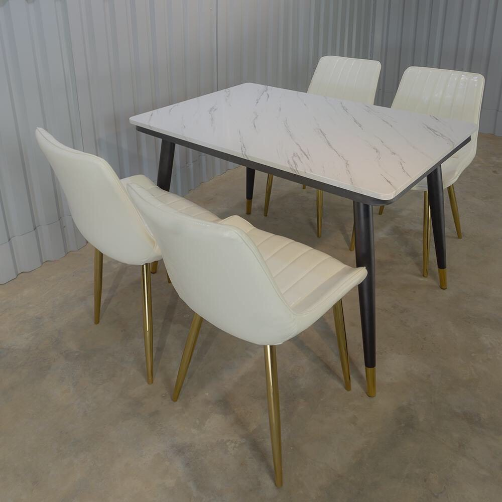 bộ bàn ăn 4 ghế ghế bọc da cao cấp