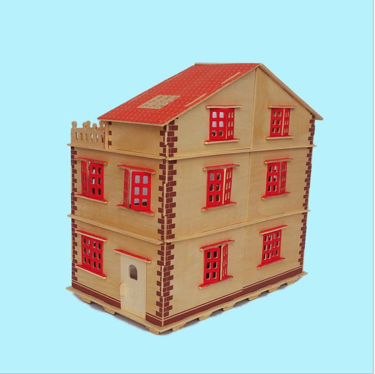 Đồ chơi lắp ráp gỗ 3D Mô hình Biệt thự gỗ Full Nội thất - Tặng kèm Đèn LED trang trí