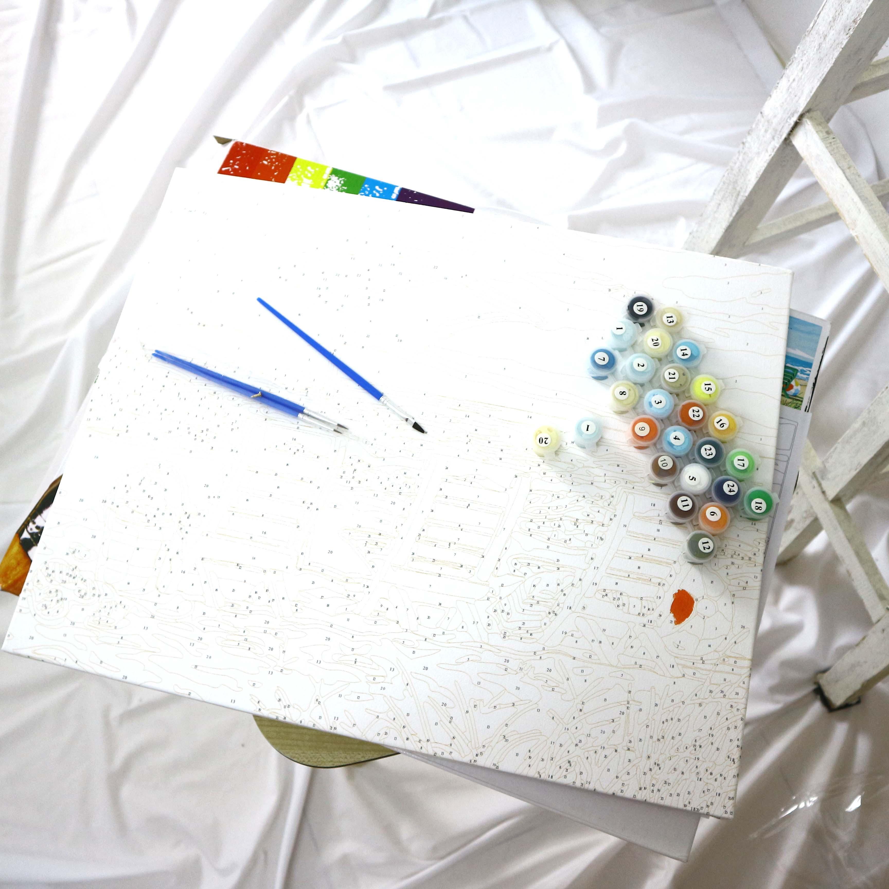 Tranh sơn dầu số hóa hươu sắc màu 05