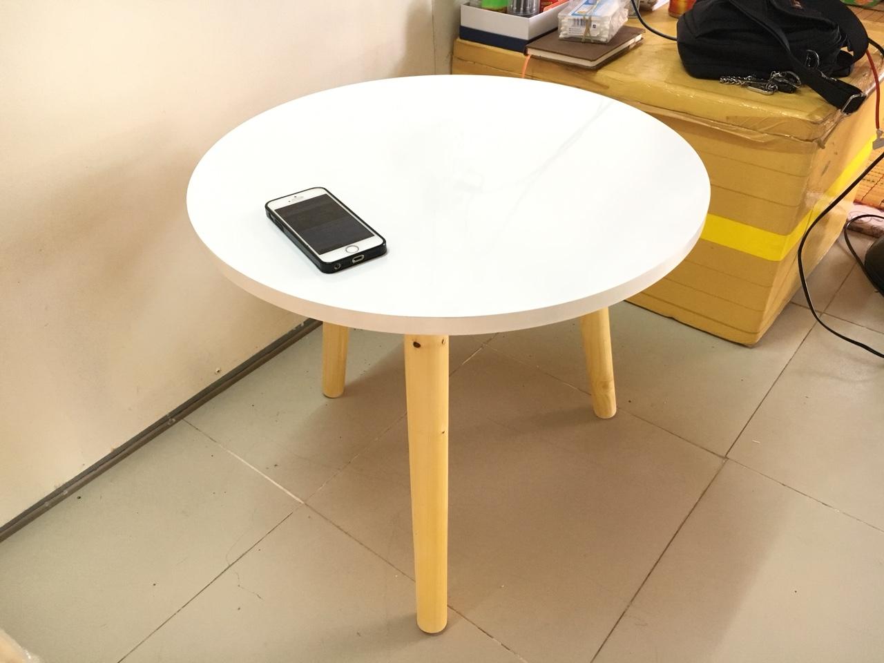 Bàn tròn trắng sofa 50x45, bàn trà, bàn cafe, coffee, cà phê, bàn salon, sopha, bàn gỗ phòng khách Pk