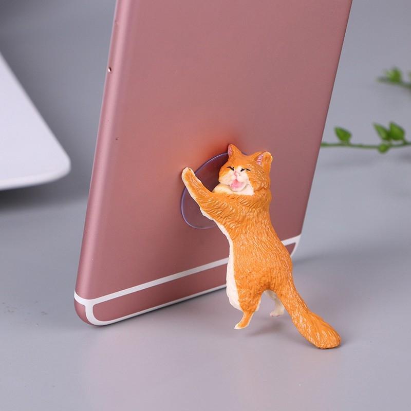 Giá hút, đỡ điện thoại đa năng hình chú mèo tạo hình độc đáo, đáng yêu