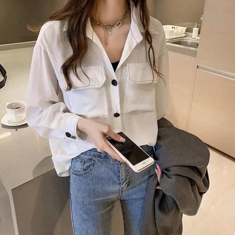 Women Loose Solid Color Temperament Shirt - White Size XL