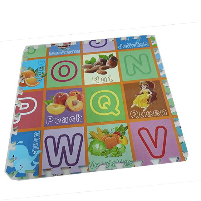 Combo 4 tấm tranh thảm xốp, in chữ cái và hình hoa quả tương ứng, kích thước 1 tấm 60cm x 60cm x1cm