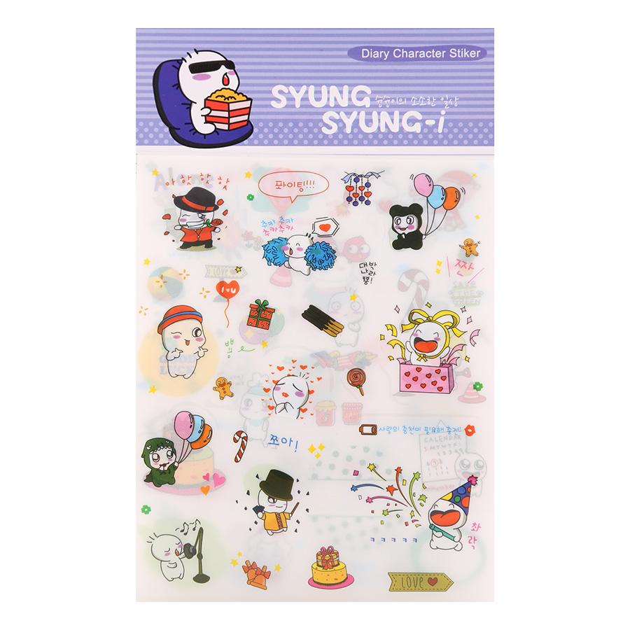 Bộ 6 Tấm Sticker Dán Trang Trí - Diary Character