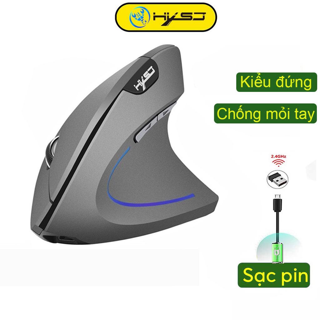 Chuột không dây kiểu đứng sạc pin HXSJ T22 wireless USB 2.4GHz chống mỏi tay chuyên dùng cho pc laptop macbook ipad tivi - Hàng chính hãng