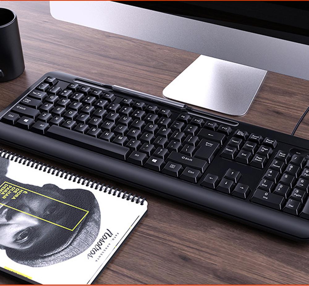 Bàn phím có dây văn phòng V1 có khả năng chống nước , âm thanh gõ nhỏ giúp tạo không gian yên tĩnh khi làm việc tại văn phòng