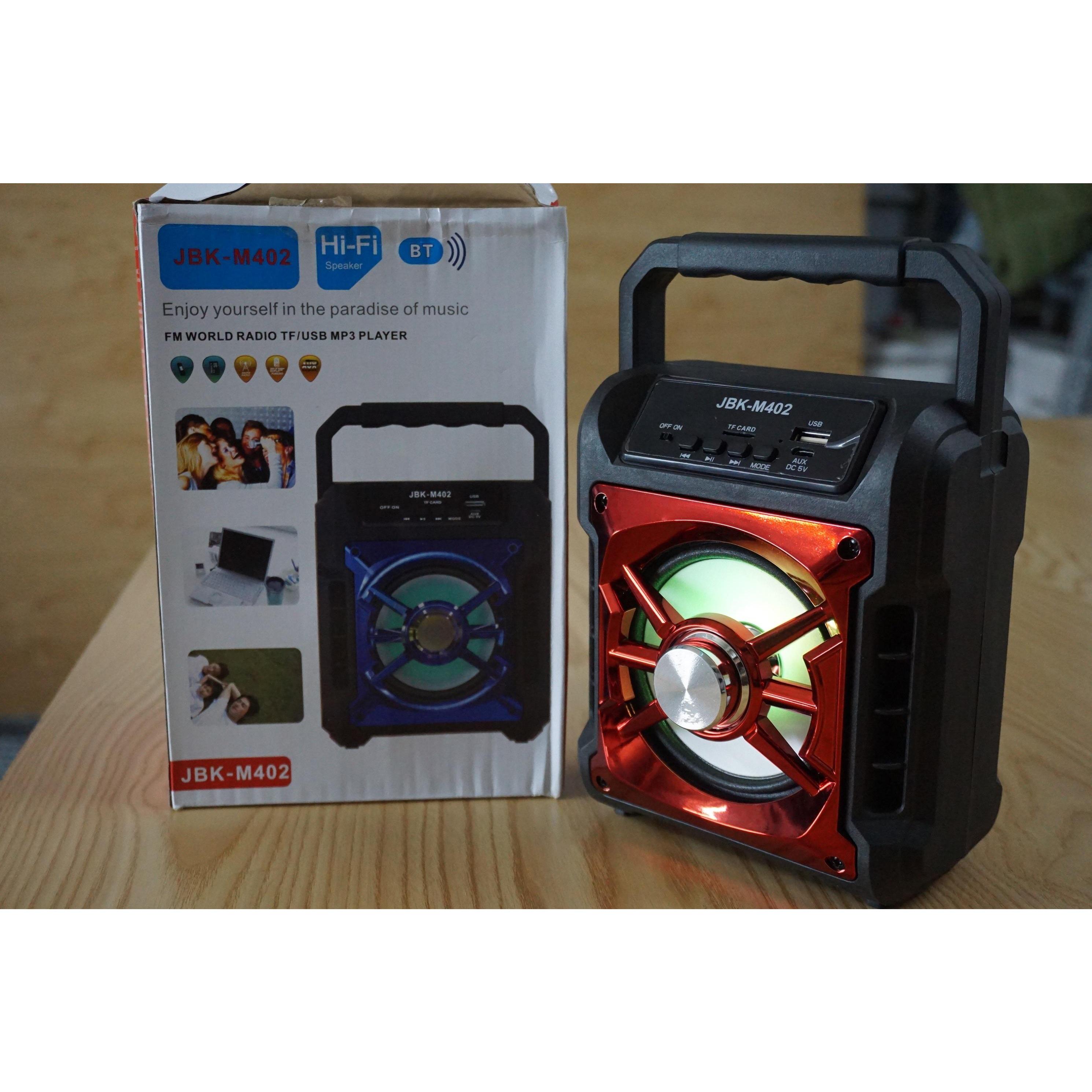 Loa Bluetooth Xách Tay Âm Thanh To Hay Chuẩn c Loa JKB-M402 đỉnh cao âm nhạc, Âm thanh chuẩn,sống động, nhỏ gọn dễ dàng xách đi mọi nơi, công suất lớn.
