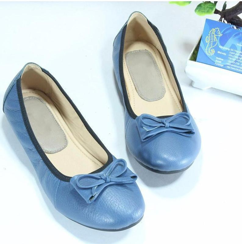 Giày búp bê thiết kế da cao cấp phối nơ - xanh