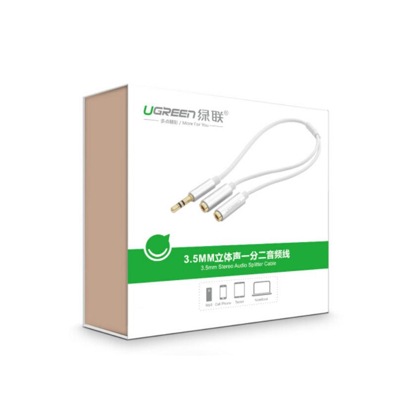 Dây cáp Audio 3.5mm đực chia 2 cổng 3.5mm cái (2 tai nghe) đầu nhôm dài 20cm AV123 10780 - Hàng chính hãng