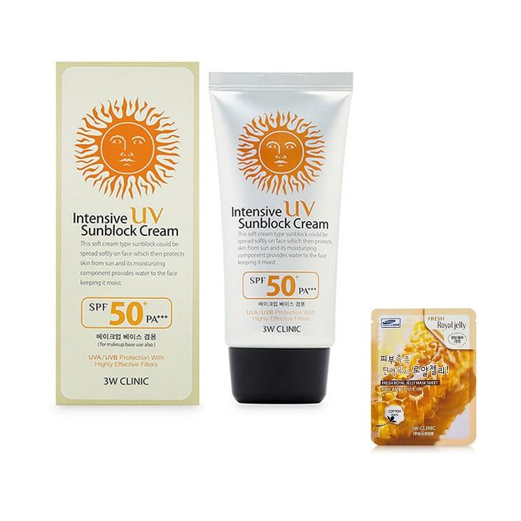 Kem Chống Nắng 3W Clinic INTENSIVE UV SUNBLOCK CREAM KOREA + Tặng Mask 3W ROYAL JELLY MASK SHEET